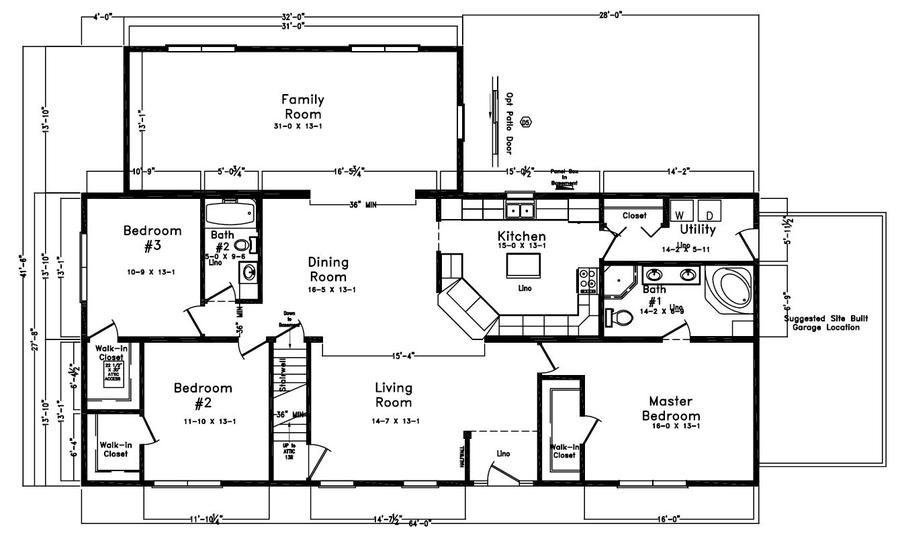 Winntree 2213 square foot ranch floor plan for Express modular pricing
