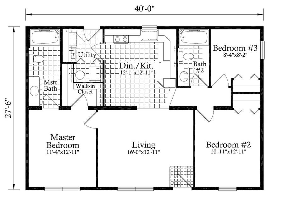 Madison ht 1100 square foot ranch floor plan for Express modular pricing